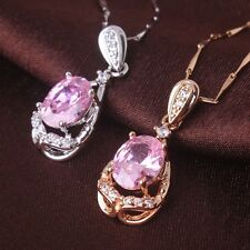 FASHION jewelry ! sweet 18k gold filled pink sapphire wedding Pendant necklace