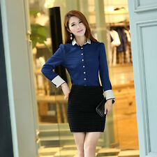 Women Slim Fit Button Down Top Blouse OL Career Puff Long Sleeve Chiffon Shirt