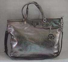 Michael Kors Channing Zip Top Large Shoulder Tote Leather Nickel/Metallic $448