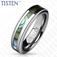 6mm Centered Abalone Inlay with Step Edges Tisten (Tungsten+Titanium) Ring