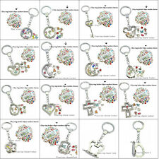 1 set copy stainless steel keyring keychain floating charm locket with 10 charms