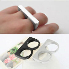 1pcs Fashion Vintage Simple Style Rock Gothic Punk Two Finger Ring AS