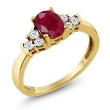 0.92 Ct Oval Red Ruby White Topaz 18K Yellow Gold Plated Silver Ring