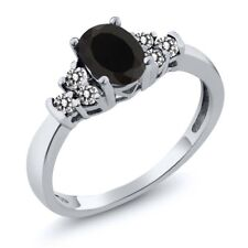 0.65 Ct Oval Black Onyx White Diamond 18K White Gold Ring