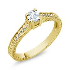0.43 Ct Round White Topaz Sapphire 18K Yellow Gold Plated Silver Engagement Ring