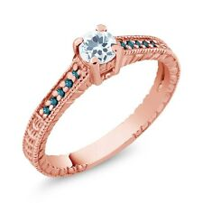 0.34 Ct Round Sky Blue Aquamarine Blue Diamond 18K Rose Gold Plated Silver Ring