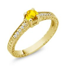 0.48 Ct Round Yellow Sapphire White Topaz 18K Yellow Gold Plated Silver Ring