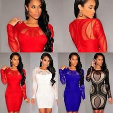 Women Slim Tunic Long Sleeve Sexy Joining Together Evening Round Collar Dress