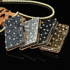 Luxury Bling Crystal Diamond Wallet Flip Card Case Cover For iPhone Samsung