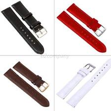 HQ Black Leather Watch Strap Band Women Mens 12-24 mm Stainless Steel Buckle B73