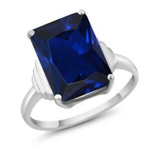 1Octagon Blue Simulated Sapphire 18K White Gold Ring