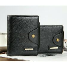 Mens Leather Bifold Multi Purse ID Card Holder Button Pocket Zip Coin Bag Wallet