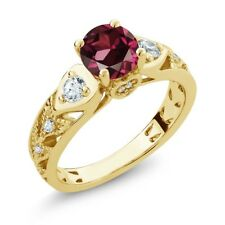 2.26 Ct Round Red Rhodolite Garnet 18K Yellow Gold Plated Silver Ring