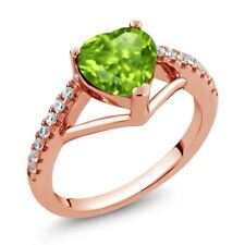 1.36 Ct Heart Shape Green Peridot 18K Rose Gold Plated Silver Ring