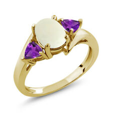 1.47 Ct Oval Cabochon White Simulated Opal Purple Amethyst 18K Yellow Gold Ring