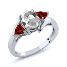 1.98 Ct Oval White Topaz Red Garnet 925 Sterling Silver Ring