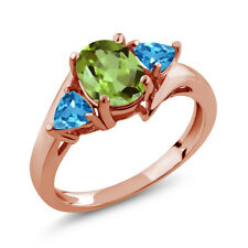 1.89 Ct Oval Green Peridot Swiss Blue Topaz 14K Rose Gold Ring