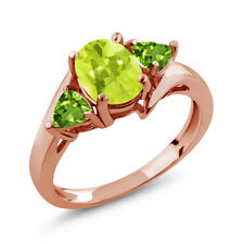 1.62 Ct Oval Yellow Lemon Quartz Green Peridot 18K Rose Gold Ring