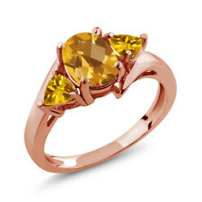 1.65 Ct Oval Checkerboard Yellow Citrine 18K Rose Gold Plated Silver Ring