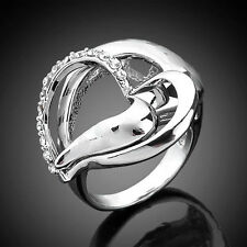 14K Platinum Plated Silver-tone Ring,Swarovski Crystal Hollow Heart Size 6-8