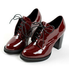 Womens Shiny Patent Leather Ankle Boots Pumps  Lace Up High Heel Shoes Big Size