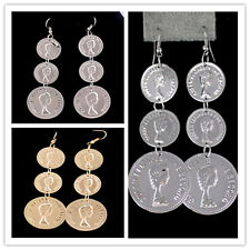 New Design Fashion Gold/Silver Plated Coins Dangles Earrings Women's Ear Hook