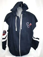 NEW Mens MAJESTIC Houston Texans NFL 2002 Navy Blue Free Pace Full Zip Up Hoodie