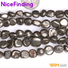 """Natural Silver Gray Pyrite Nugget Beads For Jewelry Making Gemstone 15"""" In Bulk"""