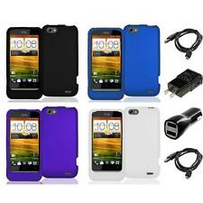 Color Hard Snap-On Rubberized Skin Case 2X Chargers for HTC One V Phone