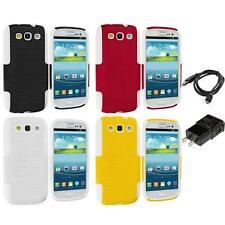 Hybrid Mesh Hard/Soft 2-Piece Skin Case for Samsung Galaxy S3 Phone Charger