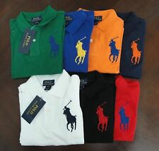 NWT Ralph Lauren Boys Long Sleeved Big Pony Solid Mesh Polo Shirts Sz 5 6 7 NEW