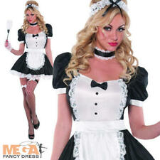 Sassy French Maid Costume Ladies Sexy Waitress Uniform Womens Fancy Dress Outfit