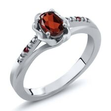 0.52 Ct Oval Red Garnet Red Rhodolite Garnet 14K White Gold Ring