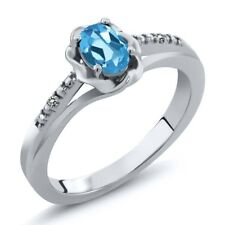 0.51 Ct Oval Swiss Blue Topaz White Diamond 925 Sterling Silver Ring