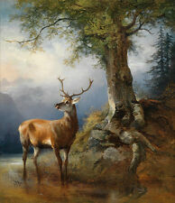Canvas Print Animals Deer classical Oil painting Picture Printed on canvas P339