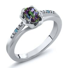 0.51 Ct Oval Mystic Topaz Swiss Blue Simulated Topaz 925 Sterling Silver Ring