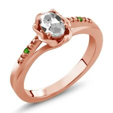 0.51 Ct Oval White Topaz and Green Simulated Tsavorite 14K Rose Gold Ring