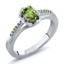 0.51 Ct Oval Green Peridot and Simulated Peridot 925 Sterling Silver Ring
