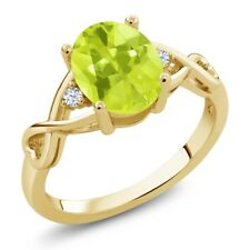 1.70 Ct Oval Yellow Lemon Quartz White Topaz 18K Yellow Gold Plated Silver Ring