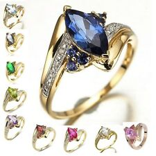 Marquise Cut Size 6,7,8,9,10 Sapphire Emerald 18K Gold Filled Women Wedding Ring