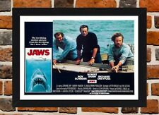Framed Jaws Movie Poster A4 / A3 Size In Black / White Frame (Version-2)