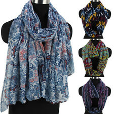 Women's Colorful Geometric/Wave/Paisley Floral Print Pattern Long/Infinity Scarf