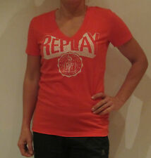 REPLAY LOGO TEE SHIRT [SIZE XS S M L ] LADIES T-SHIRT PRINT RED SHIRT NIP