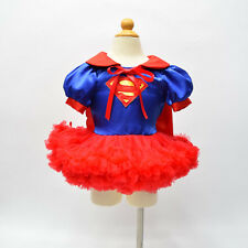 Supergirl Fancy Dress Girls Tutu Dresses Superhero Cosplay Party Costume Outfit