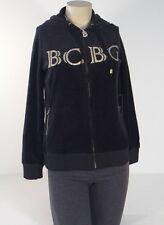 BCBG Maxazria Black & Gold Zip Front Velour Hooded Jacket Hoodie Women NWT $160