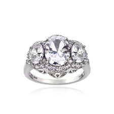 925 Sterling Silver 4.15ct Created White Sapphire 3-Stone Ring
