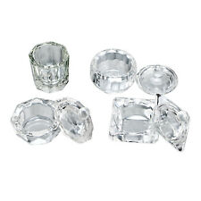 1 Pcs CRYSTAL GLASS DAPPEN DISH + LID BOWL CUP NAIL ART Craft SALON School Tool