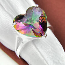 2016 New Arrival Love Heart Shaped Rainbow topaz Gem Silver Rings US Size 7 8 9