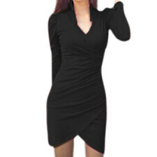 Women Crossover V Neck Ruched Tulip Hem Bodycon Mini Dress