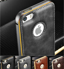 Luxury Aluminum Metal Bumper Frame Leather Back Case Cover For iPhone 6 6S Plus